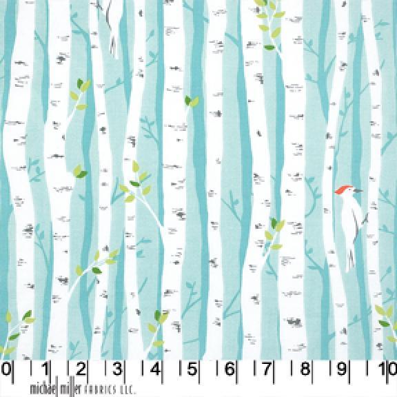Wood Pecker Bird Forest Birch Tree Pileated Cotton Fabric Quilt Fabric AB0105