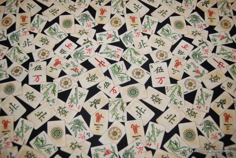 Asia Zen Mah Jong Game Tile China Asian Oriental Style Cotton Fabric Quilt Fabric AB 0119