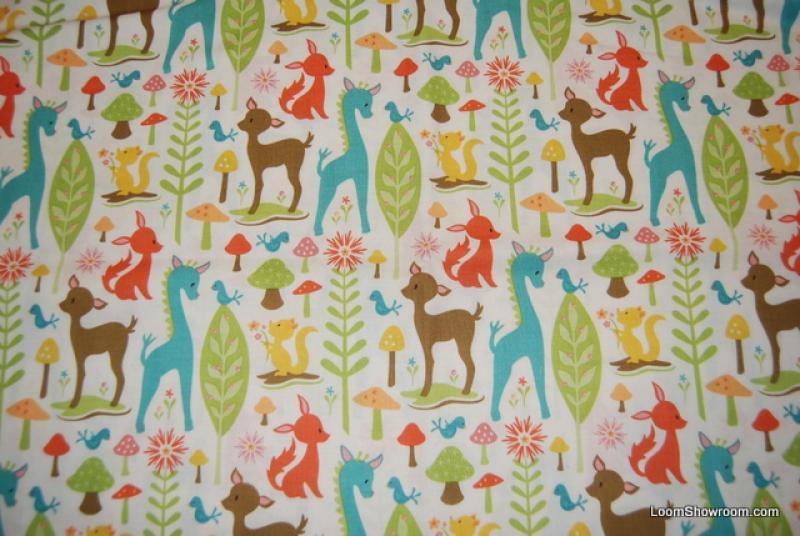 Sheri Berry Deer Giraffe Critter Mushroom Woodland Trails Animal Friends Cotton Fabric Quilting fabric AB0121