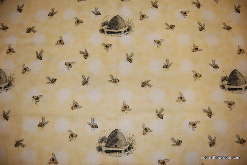 Honey Bee Vintage Style French Country Culinary Print Skep Cotton Fabric Quilt ABA120