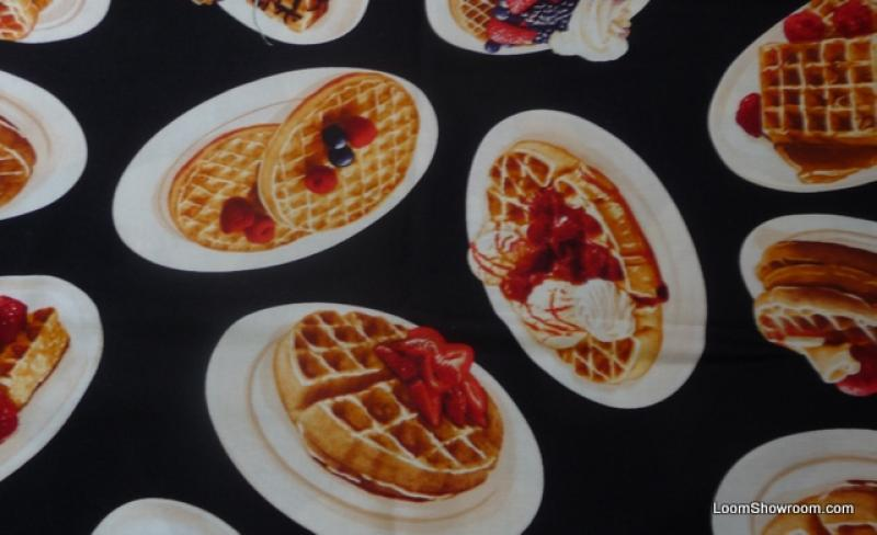 FAT QUARTER! Waffles Yummy Breakfast Treat Butter Syrup Strawberries Cotton Fabric Quilt Fabric RPFABO127