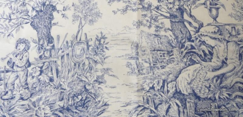 Toile Asia French Provincial Blue and White China Japan Willow Print Cotton Fabric Quilt Fabric ABO129