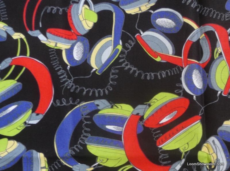 Headphones Retro 70's Music Dance Throw Back Cotton Fabric Quilt Fabric ABO131
