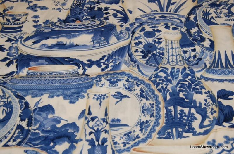 Asia Toile Blue and White Procelain Delft Style China Japan Pottery Cotton Fabric Quilt Fabric ABO134