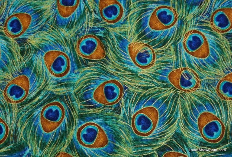 Peacock Feather Pattern Bird Plume Metallic Gold Accent Asia Cotton Fabric Quilt Fabric ABO143