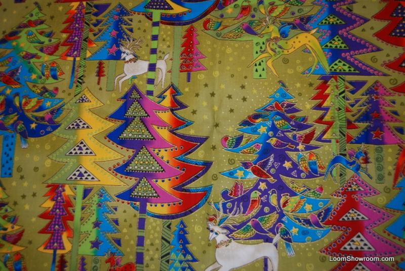 Laurel Burch Holiday Celebrations Reindeer Christmas Quilt Fabric Cotton Fabric AC021