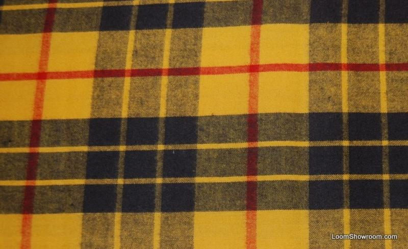 Plaid Traditional Bright Yellow and Black with Red stripe Plaid Reversible Brushed Flannel Side & Smooth Cotton Side Cotton Fabric Quilt Fabric Apparel Fabric AC024