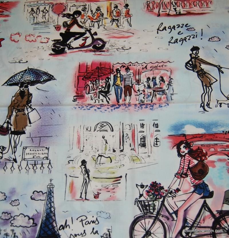 Paris Vintage Sketch Print Ragazze e Ragazzi France Caf� Street Scene Cotton Fabric Quilt Fabric AC051