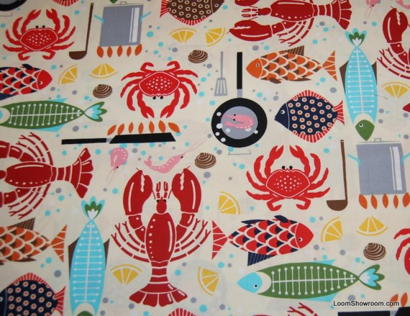 Fish Lobster Crab Sealife Modern Retro Cotton Fabric Quilt Fabric AC059
