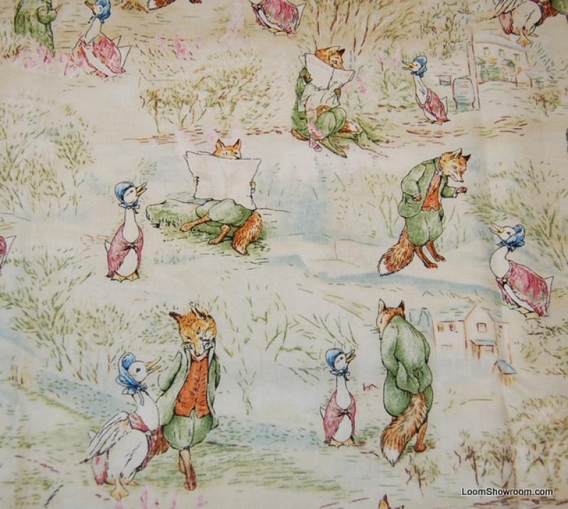 Beatrix Potter Story Fox & Goose Peter Rabbit Jemima Puddle Duck Retro Childrens Book Cotton Fabric Quilt Fabric AC073