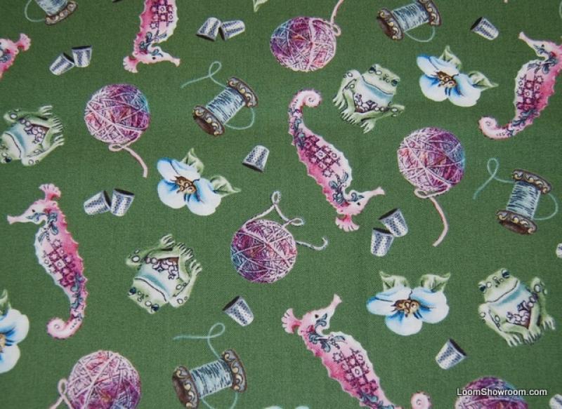 Jim Shore Fantasy Print Seahorse Frog Thimble Yard Thread Sewing Scatter Fun Retro Cotton Fabric Quilt Fabric AC074