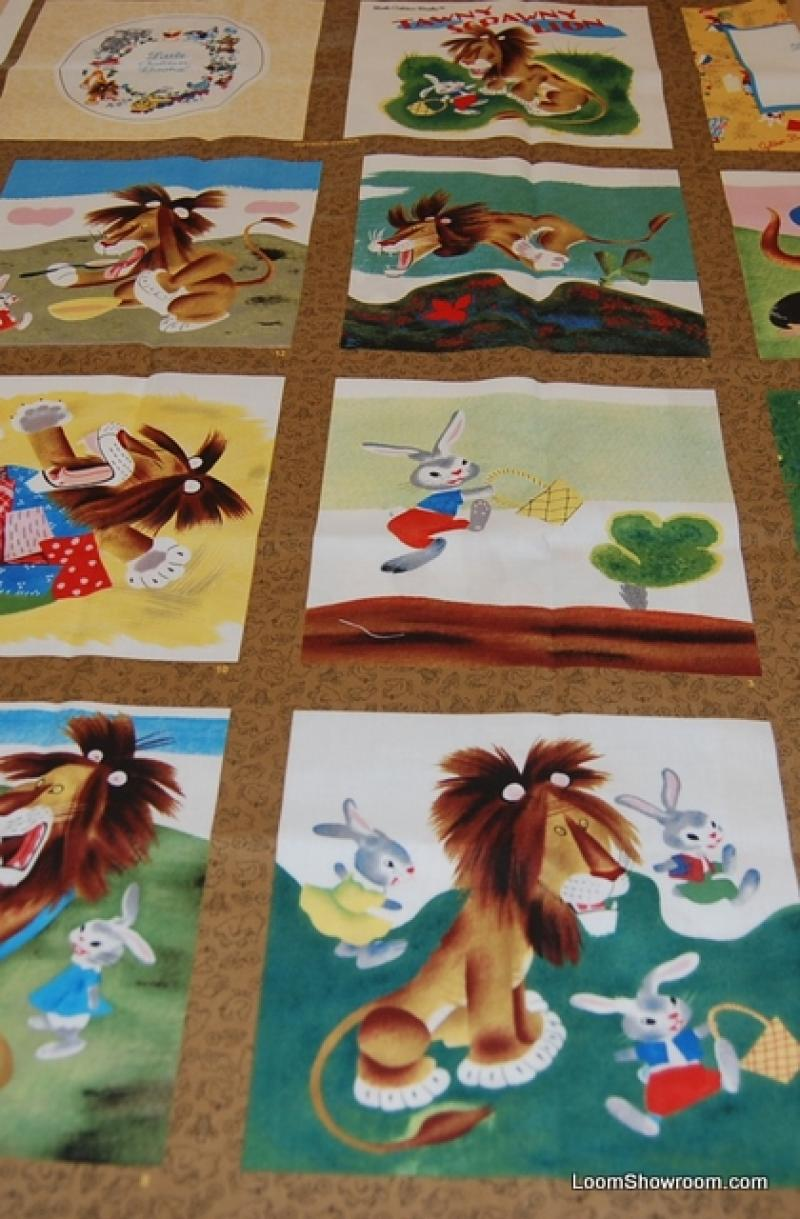 Little Golden Books Tawny Scrawny Lion Story Book Panel Retro Childrens Cotton Fabric Quilt Fabric Panel AC075