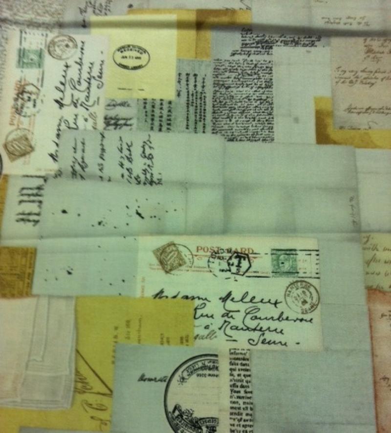 Paris Vintage Postcard Travel Continental France Cotton Fabric Quilt Fabric AZ12