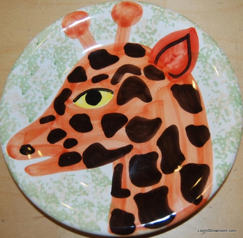 Italy Giraffe Hand Painted Italy Pottery Plate Signed 8 plate BOX51A