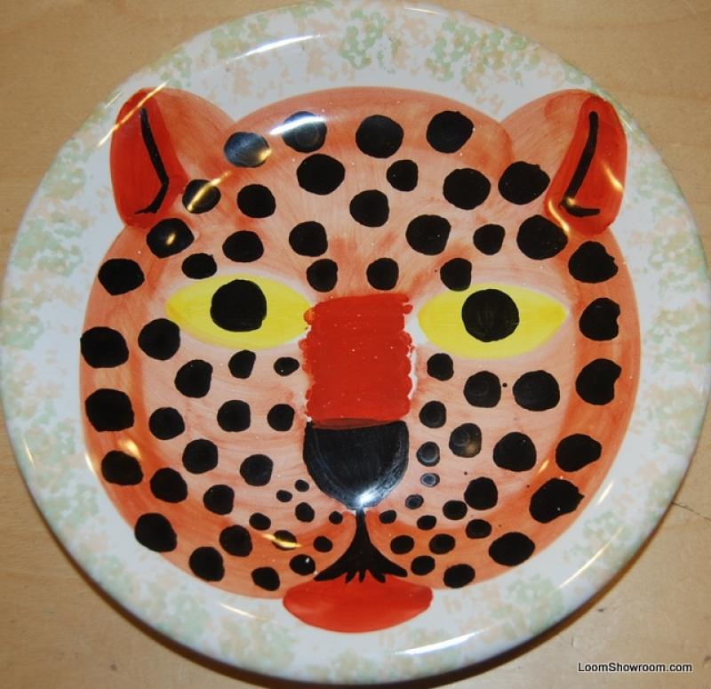 Italy Leopard Hand Painted Italy Pottery Plate Signed 8 plate BOX51C