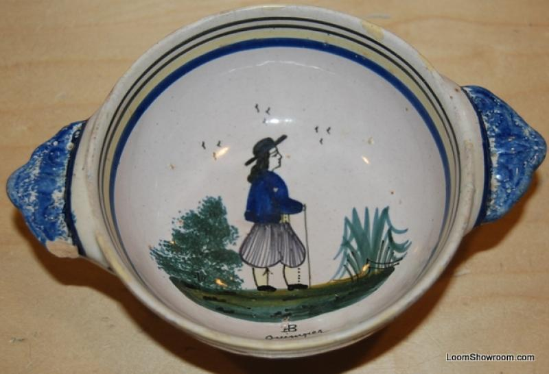 Quimper Antique French Faience Stoneware Dish Signed 7 1/2 Dish BOX52C