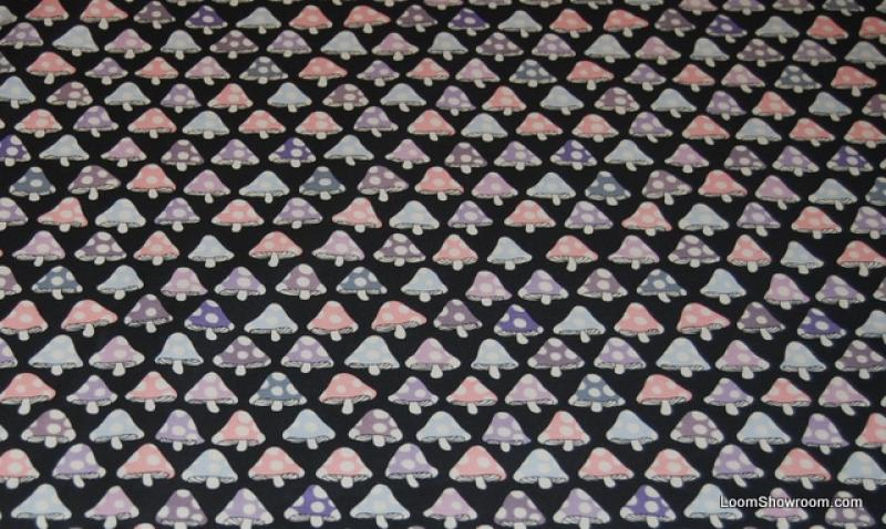 Mushrooms Retro Sixties Groovy Mushrooms and Dots Navy Cotton fabric Quilt fabric AH51 C26