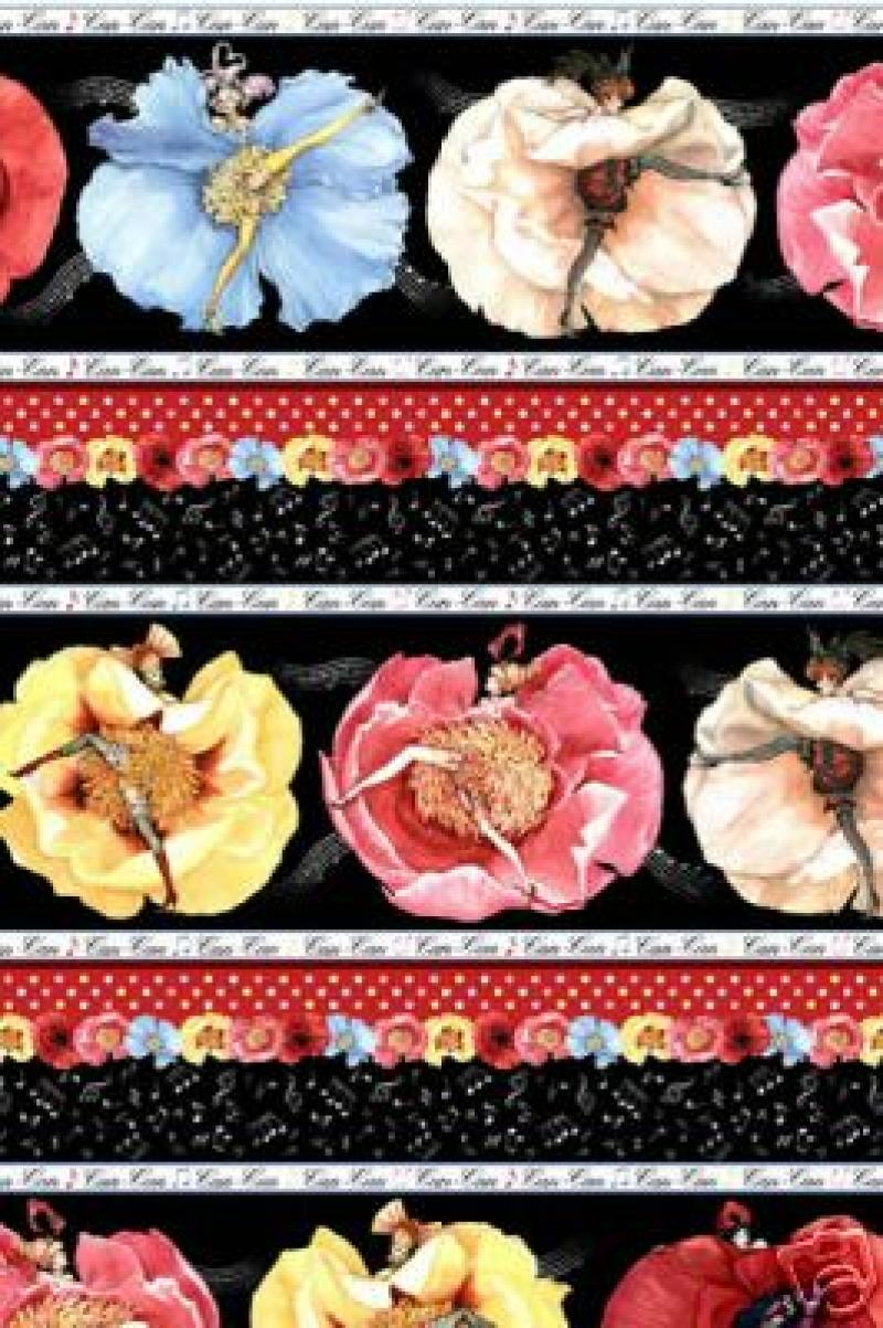 Fat Quarter! Can Can Ladies Sexy Pin Up Paris Floral France Sew Quilt Fabric Cotton Fabric FQC38