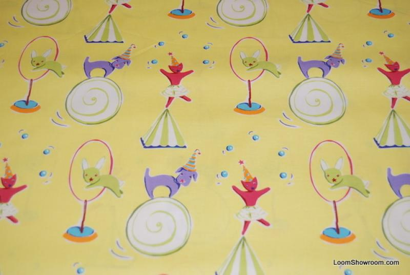 C63 Party Dog Cat Bunny Rabbits Wearing Hats Jumping Circus Balls Juggling Hoops Fun Cotton Fabric Quilt Fabric