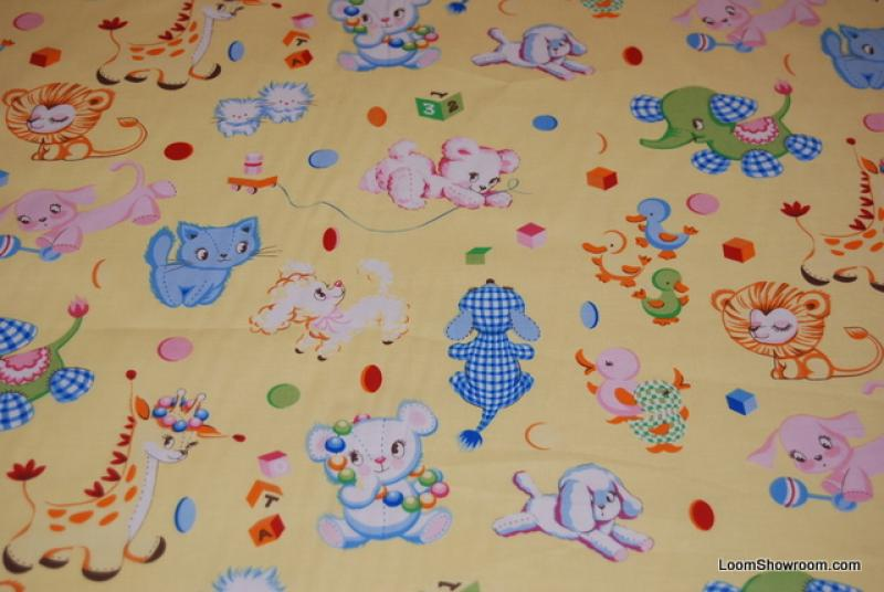 C92 Retro Vintage Baby Toy Binky's Best Friends Kittens Ducks Elephants Lions Dogs Giraffes Cats Blocks Cotton fabric Quilt fabric