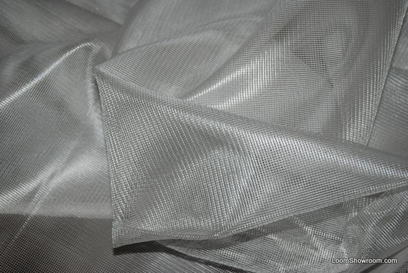 Clarence House Modern Sheer Net Grid Fabric Titanium Colorway CH3277