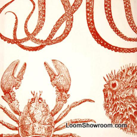 Thomas Paul Sealife Lobster Crab Octopus Turtle Illustrated Life Print Heavy Weight Cotton Fabric Persimmon DSO103NR