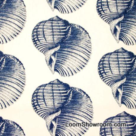 Thomas Paul Sealife Shell Beach Illustrated Life Print Heavy Weight Cotton Fabric Indigo DSO107NR