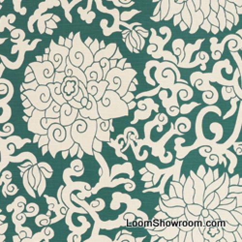 Thomas Paul Scandinavian Modern Floral Graphic Silouhette Large Scale Bold Heavy Cotton Linen Fabric Teal DSO131 R/O
