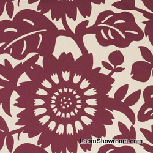 Thomas Paul Scandinavian Modern Floral Graphic Silhouette Large Scale Bold Heavy Cotton Fabric Berry DSO133NR