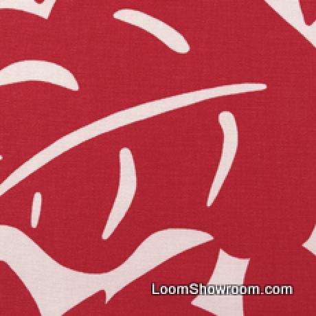 Thomas Paul Scandinavian Modern Floral Graphic Silouhette Large Scale Bold Heavy Cotton Fabric Cherry Light Tan DSO135 R/O