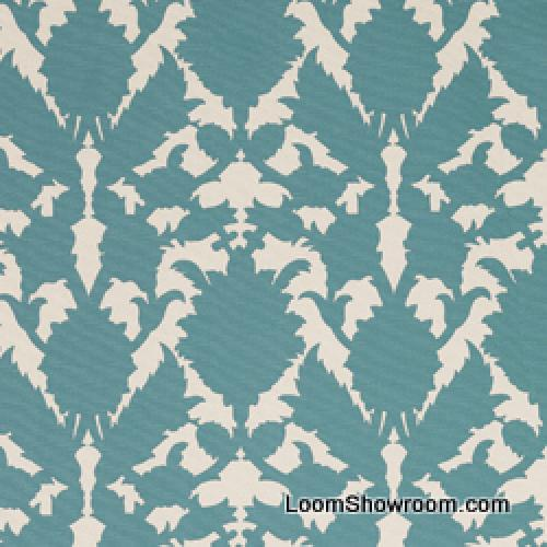 Thomas Paul Scandinavian Modern Damask Graphic Silouhette Large Scale Bold Heavy Cotton Fabric Turquoise DSO138 R/O