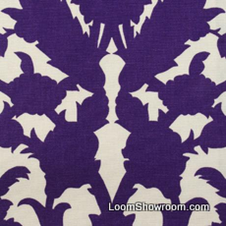 Thomas Paul Scandinavian Modern Damask Graphic Silouhette Large Scale Bold Heavy Cotton Fabric Amethyst DSO139 R/O
