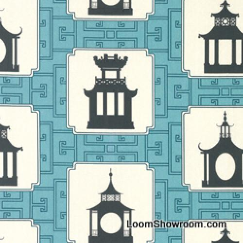 4 YARD BOLT! Thomas Paul Folly Duralee Pagoda Number 20959-19Modern Graphic Print Asia Toile Tea House Incredible Heavy Cotton Fabric Aqua DSO141NR Sold by the Piece