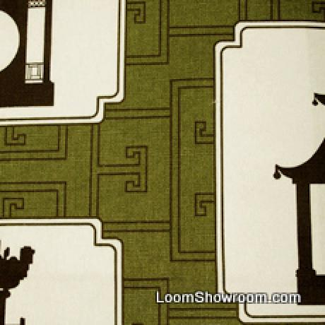 Thomas Paul Modern Graphic Silouhette Print Asia Toile Tea House Incredible Heavy Cotton Fabric Kiwi DSO142 R/O