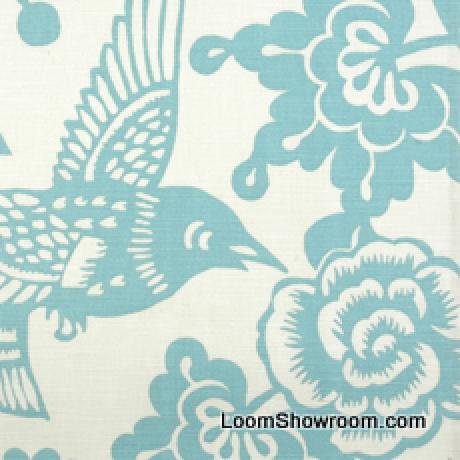 Thomas Paul Modern Graphic Silouhette Print Bird Floral Woodcut Heavy Cotton Linen Fabric Robin DSO145 R/O