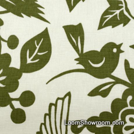 Thomas Paul Modern Graphic Silouhette Print Bird Floral Woodcut Heavy Cotton Linen Fabric Moss DSO146 R/O