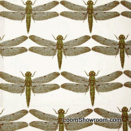 Thomas Paul Illustrated Nature Insect Dragonfly Heavy Cotton Linen Fabric Aqua DSO149 R/O