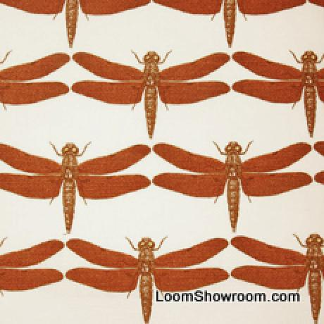 DSO151B Thomas Paul Illustrated Nature Insect Dragonfly Heavy Cotton Linen Fabric Persimmon DSO150NR