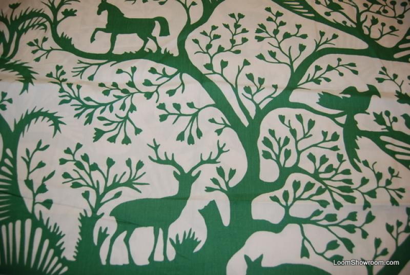 Thomas Paul Springtime Scandinavian Modern Wood Cut Animals Graphic Forest Deer Horses Rabbits Birds w/ Trees Plants Bright Green Designs w/ Ivory background Fabric Heavy Weight Cotton Fabric Decor Fabric DSO300 NR