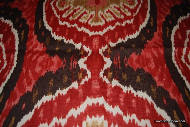 Ikat Exotic Tribal Modern Vibrant Red Gold Brown Jagged Designs ...