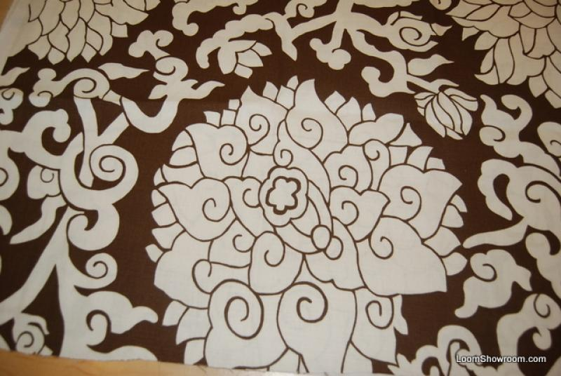 Thomas Paul Scandinavian Modern Bright White Flowers w/ Brown background Floral Design Pattern Heavy Weight Cotton Fabric Home Dec Fabric DSO310 ORFl