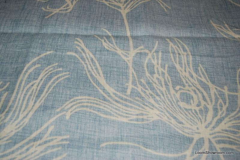 Peacock Feather Large Scale Dramatic Textured White Designs on Light Blue background Cotton fabric Drapery fabric DSO314