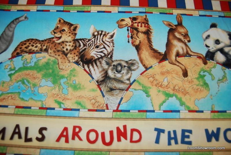 FF12 PNL52 Animals Around the Globe Panda Kangaroo Camel Koala Moose Monkey Cotton Fabric Quilt Fabric