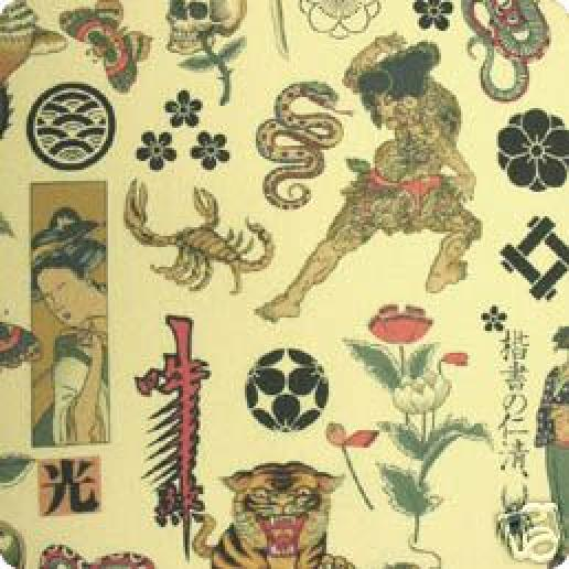 F21 Zen TATTOO Sumo Skull Snake Quilt Cotton Fabric : tattoo quilt fabric - Adamdwight.com