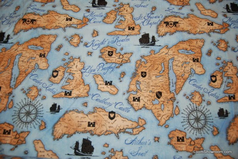 F24 Medieval Map Sailing Ship Clipper Globe Navigation Pirate Compass King Arthur Cotton Fabric Quilt Fabric