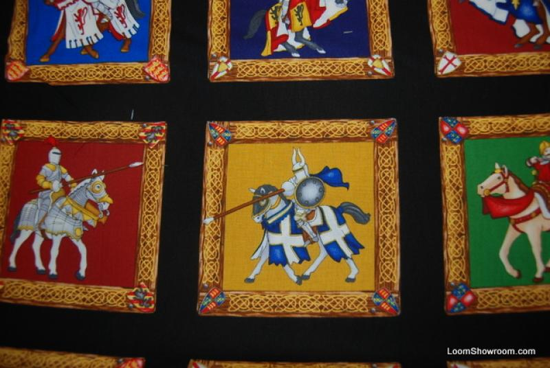 F26 Knights Horses Medieval Castle Tournament Armor Squares Cotton Fabric Quilt Fabric