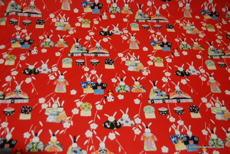 F69 Rare  Ohinsana Japan Asia Asian Bunny Rabbits Flowers Red Cotton fabric Quilt fabric