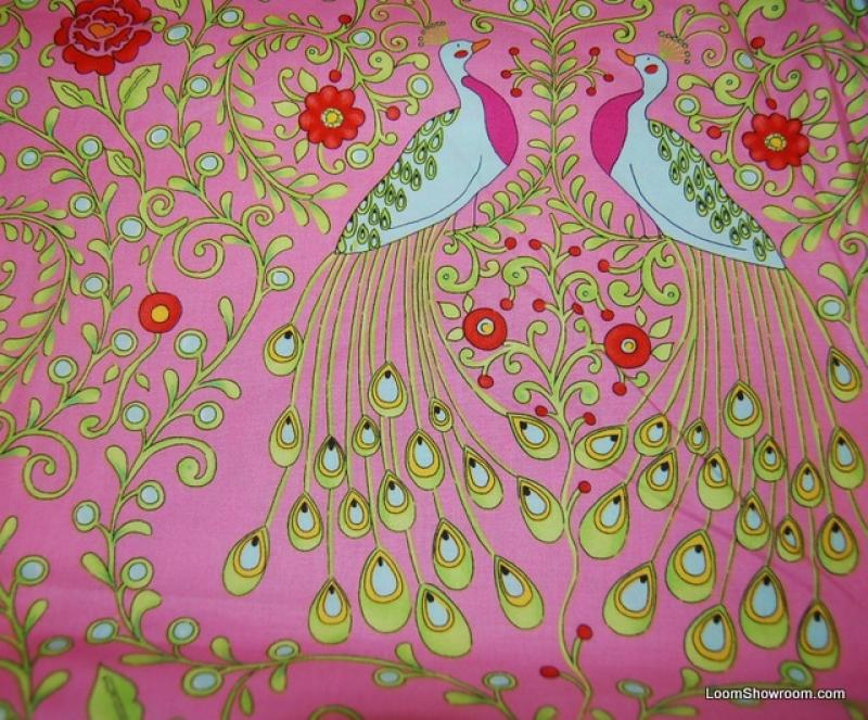Peacock Monaco Peacock Bird Feathers Flowers Cotton Fabric Quilt Fabric F73