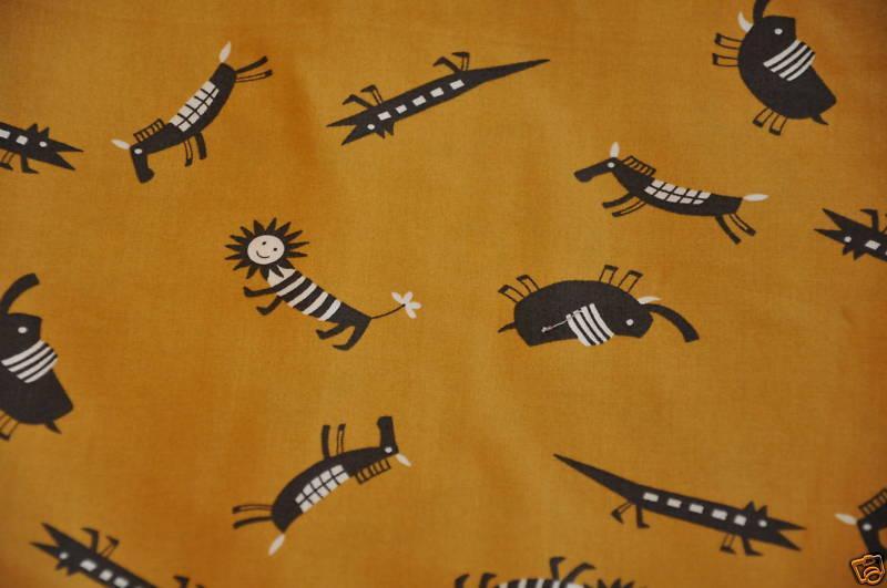 Sevenberry Retro Animal Japan Primitive Cave Drawing Elephant Gator Horse Quilt Cotton Fabric G36