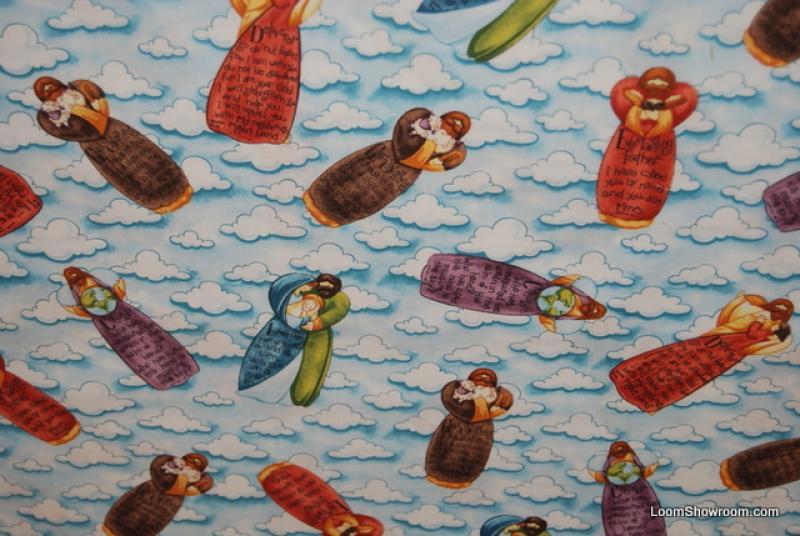 Folk Art Angel Baby Jesus Joseph Mary Cotton Fabric Quilt Fabric G98